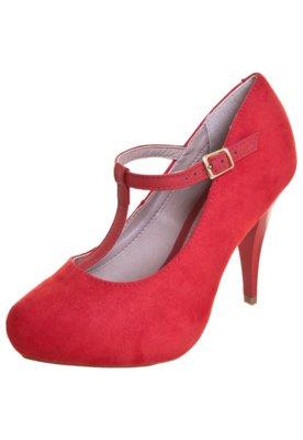 Sapato Scarpin Beira Rio Salomé Meia-Pata Embutida Vermelho