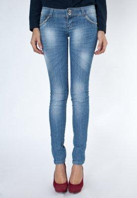 Calça Jeans Sawary Strass Azul