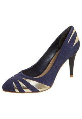 Sapato Scarpin Lilly's Closet Recortes Detalhe Metalizado Az...