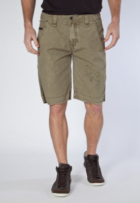 Bermuda Sarja Calvin Klein Jeans Bordado Frontal Verde
