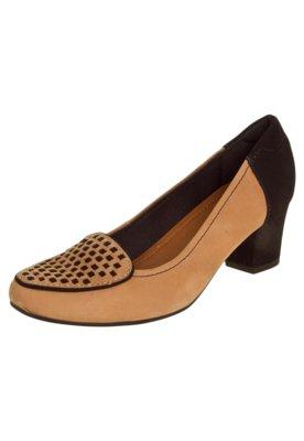 Sapato Scarpin Usaflex Salto Bloco Slipper Bicolor Marrom