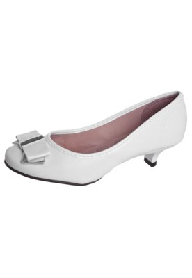 Sapato Scarpin Moleca Laço Detalhe Metalizado Branco