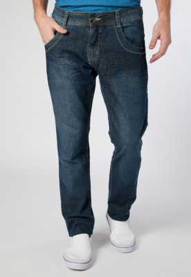Calça Jeans Reta Fit Amassados Azul - Biotipo