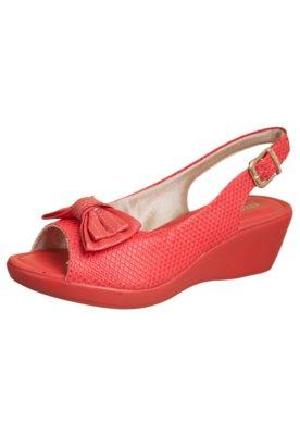 Sandália Azaleia Anabela Baixa Chanel Laço Vermelha
