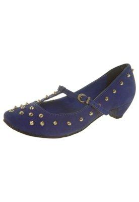 Sapato Scarpin Tanara Salto Baixo SPikes Salomé Azul