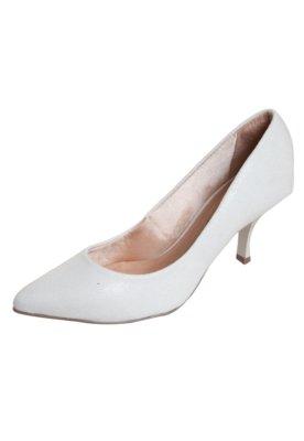 Sapato Scarpin Di Cristalli Bico Fino Salto Baixo Branco