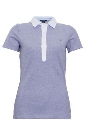 Camisa Polo Gant Oxford Pique Azul