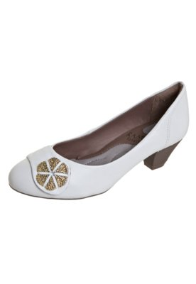 Sapato Scarpin Ramarim Total Comfort Salto Baixo Detalhe Met...