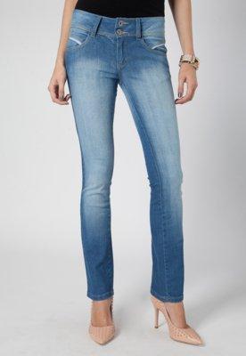 Calça Jeans Skinny Pink Connection Recorte Azul