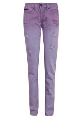 Calça Sarja Calvin Klein Jeans Desfiados Roxa