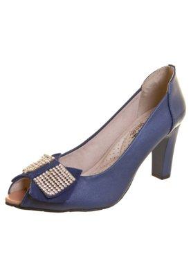 Sapato Scarpin Miucha Laço Strass Azul