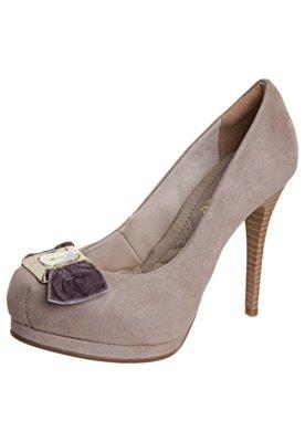 Sapato Scarpin Bebecê Meia-Pata Laço Pedra Bege