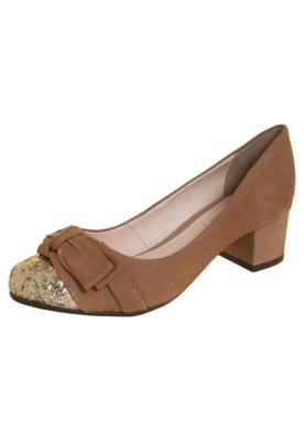 Sapato Scarpin Salto Baixo Biqueira Glitter Bege - Bottero