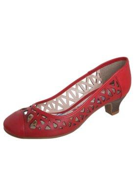 Sapato Scarpin Bottero Vazado Salto Baixo Vermelha