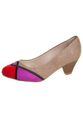 Sapato Scarpin Beira Rio Bordado Geométrico Marrom
