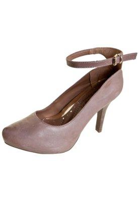 Sapato Scarpin Ramarim Total Comfort Pulseira Bege