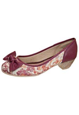 Sapato Scarpin Salto Baixo Floral Laço Vinho - AZALEIA