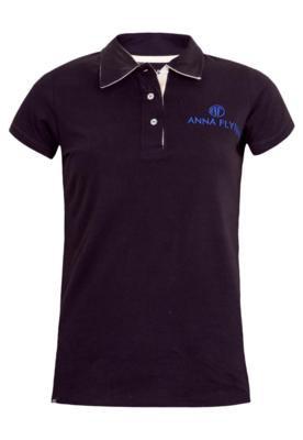 Camisa Polo Anna Flynn Bordado Preta