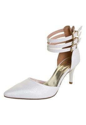 Sapato Scarpin Bebecê Semi Aberto Três Pulseiras Branco