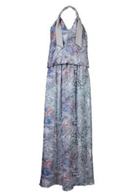 Vestido Anna Flynn Longo Mix Cinza