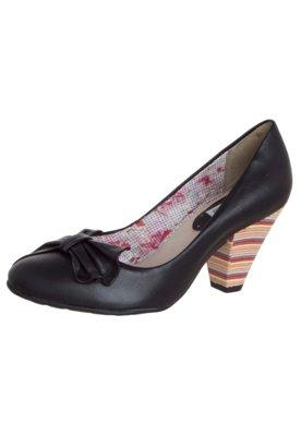 Sapato Scarpin Bottero Salto Colorido Médio Leque Preto