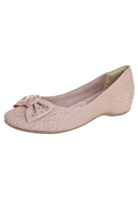Sapato Scarpin Salto Embutido Laço Nude - Comfortflex