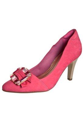 Sapato Scarpin Dayflex Bico Fino Laço Fivela Pedraria Rosa