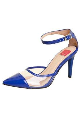 Sapato Scarpin Pink Connection Recorte Azul