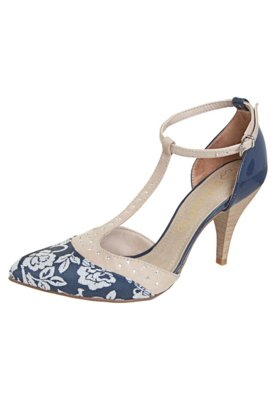 Sapato Scarpin Bebecê Recorte Azul/Nude