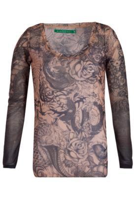 Blusa Tatuagem Bege - Espaço Fashion