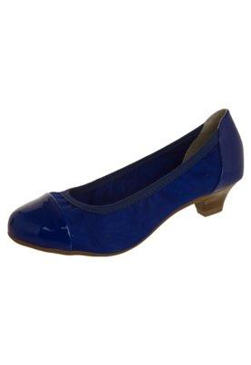 Sapato Scarpin Beira Rio Saltinho Biqueira Verniz Azul