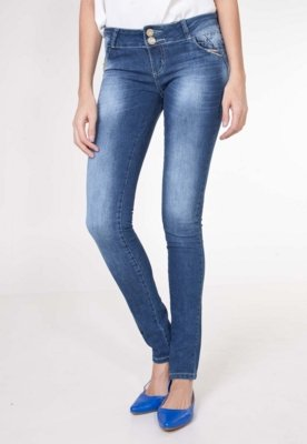 Calça Jeans Sawary Skinny Shine Azul