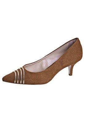 Sapato Scarpin Anna Flynn Faixas Metalizadas Caramelo