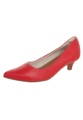 Sapato Scarpin Usaflex Bico Fino Salto Baixo Vermelho