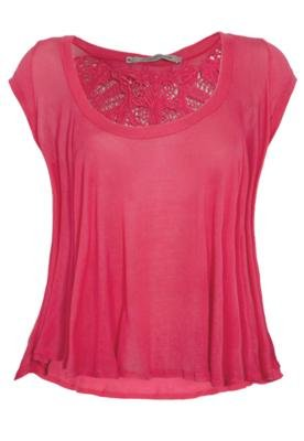 Blusa Espaço Fashion Aplique Rosa