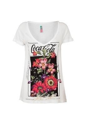 Blusa Confort Flores Branca - Coca Cola Clothing
