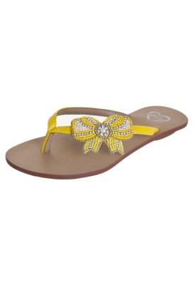 Sandália Rasteira Idarro Laço Bordado Amarela