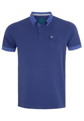 Camisa Polo Forum Muscle Bolso Azul