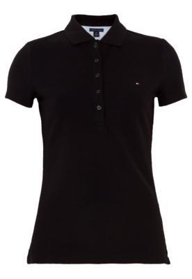 Camisa Polo Tommy Hilfiger Bordada Preta