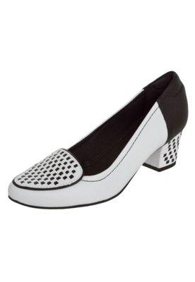 Sapato Scarpin Usaflex Salto Bloco Slipper Bicolor Branco
