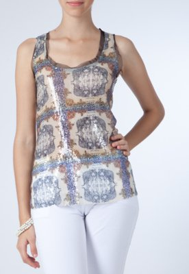 Blusa Lucy In The Sky Tigre Paetês Bege