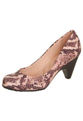 Sapato Scarpin Moleca Estampada Rosa