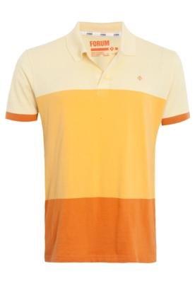 Camisa Polo Forum Muscle Bordado Amarela