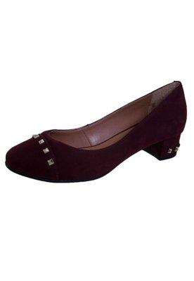 Sapato Scarpin Raphaella Booz Salto Baixo SPikes Vinho
