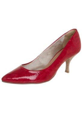 Sapato Scarpin Di Cristalli Bico Fino Salto Baixo Vermelho