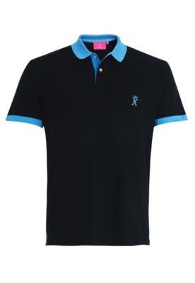 Camisa Polo Vicomte A. Bicolore Preta