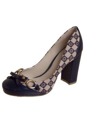 Sapato Scarpin Capodarte Salto Grosso Monograma Azul