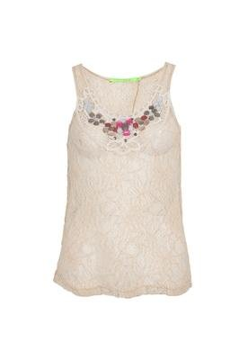 Blusa Renda Pedrarias Bege - Espaço Fashion