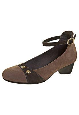 Sapato Scarpin Salto Baixo Pulseira Marrom - Dayflex