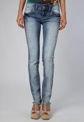 Calça Jeans Skinny Edna Rebites Azul - Colcci
